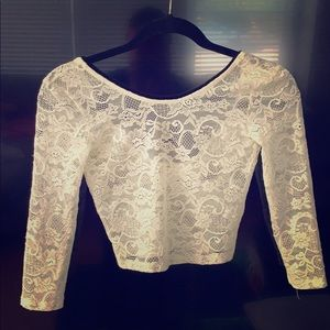 Tops - Talula white lace long sleeved crop top scoop back